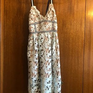 Lace teal crochet dress